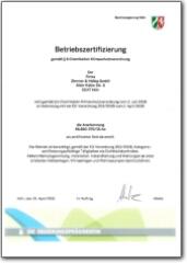 ZHK Betriebszertifizierung